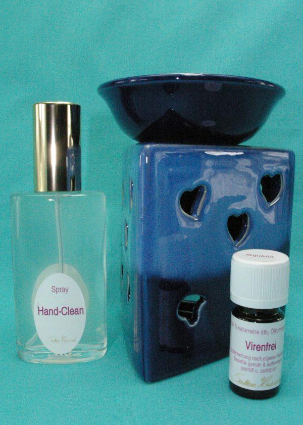 Virenfrei Set Deluxe mit Aromalampe Prisma Herz blau