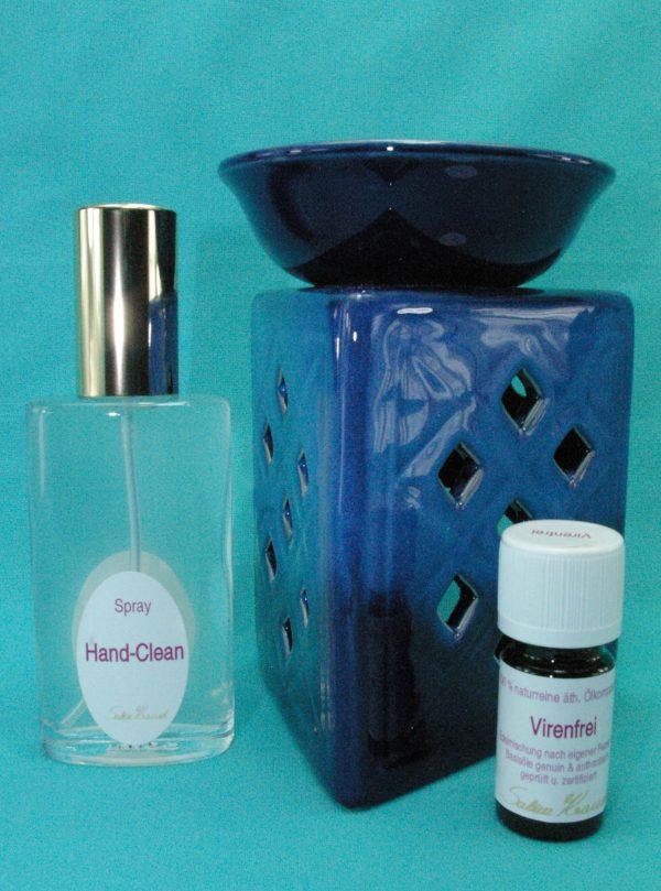 Virenfrei Set Deluxe mit Aromalampe Prisma Raute blau