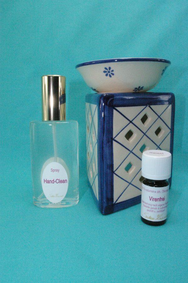 Virenfrei Set Deluxe mit Aromalampe Prisma Raute weiß