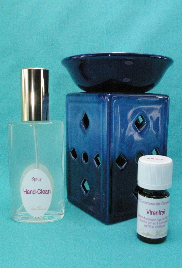 Virenfrei Set Deluxe mit Aromalampe Quader Karo blau