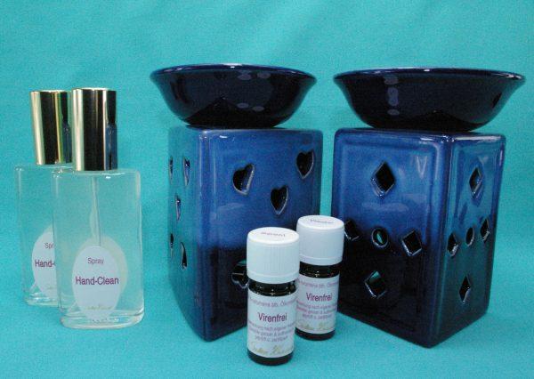 Virenfrei Set Deluxe extra mit Aromalampe Prisma Herz blau und Quader Karo blau