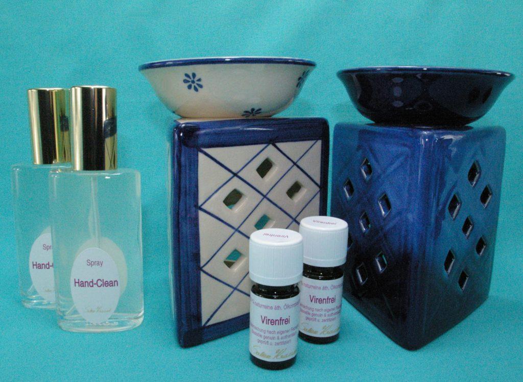 Virenfrei Set Deluxe extra mit Aromalampe Pisma Raute weiß und Prisma Raute blau