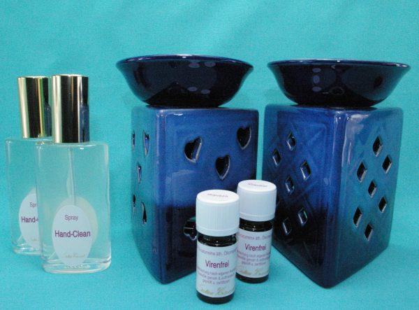 Virenfrei Set Deluxe extra mit Aromalampe Prisma Herz blau und Prisma Raute blau